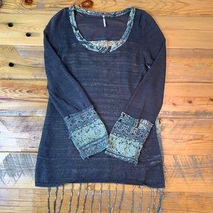 Free People Boho Fringe Tunic Sheer Knit Front